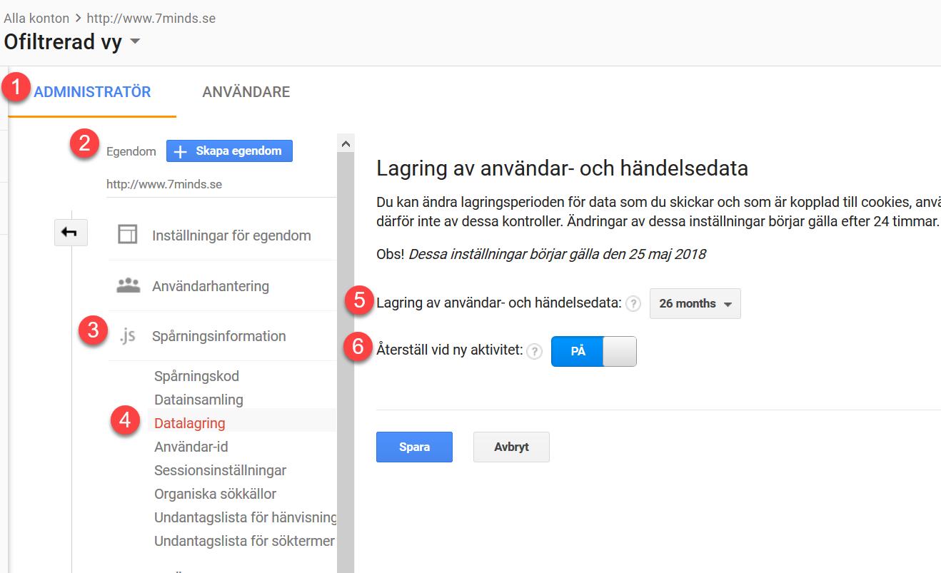 Ställ in lagringstid för personuppgifter enligt GDPR i Google Analytics